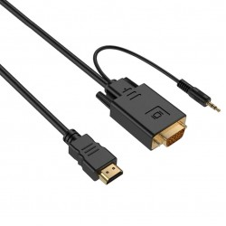 Кабел DeTech HDMI - VGA, 1.8m, С аудио кабел, Черен - 18316