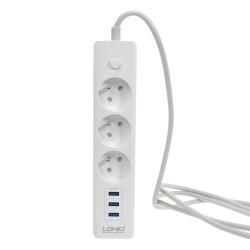 Разклонител шуко, LDNIO SE3330, с 3 гнезда и 3 USB изхода, 3.1А, 1,8м, Черен - 14366