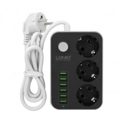 Разклонител шуко, LDNIO SE3631, с 3 гнезда и 6 USB изхода, 3.4А, 1,8м, Черен - 14365