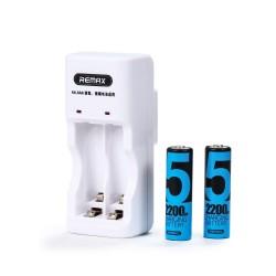 Зарядно за акумулаторни батерии, Remax RT-DC01, комплект с 2xAA батерии, Бял - 14815